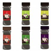 Set Of Powdered Hot Drink. Six Flavor Powder: Chocolate With Red Pepper, Chocolate With Mint And Cof poster