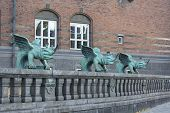 Copenhagen City Hall, Green Mascarons On The Fence At The Entrance To The Building, Copenhagen, Denm poster