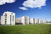 stock photo of munich residence  - Beginner homes on an estate on a sunny day - JPG