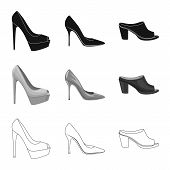 Bitmap Illustration Of Footwear And Woman Sign. Set Of Footwear And Foot Bitmap Icon For Stock. poster