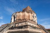 Ancient Pagoda At Wat Chedi Luang Temple In Chiang Mai, Thailand poster