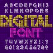 Digital Alphabet Font. Pixel Letters And Numbers In Green Color. 80s Retro Arcade Video Game Typefac poster