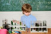 Small Pupil Learning Chemistry In School. Chemistry Laboratory. Practical Knowledge Concept. Study G poster
