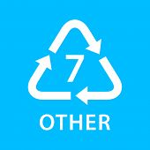 Recycle Arrow Triangle Other Types 7 Isolated On Blue Background, Symbology Seven Type Logo Of Plast poster