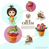 Cartoon Summer Cold Desserts Template With Colorful Tasty Icecreams Girl Holding Ice Cream And Monoc poster