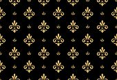 Wallpaper In The Style Of Baroque. Seamless Vector Background. Gold And Black Floral Ornament. Graph poster
