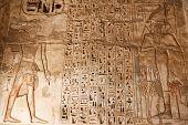 Egyptian Hieroglyphs In Medinet Habu Temple, Luxor, Egypt poster