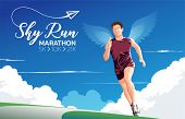 A Theme, A Key Visual, An Illustration Of Marathon Runners With The Wings On Back Under The Blue Sky poster