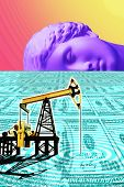 Surreal Art With An Antique Statue Head, Pump Jack On A Dollar Field. Contemporary Art Collage. poster