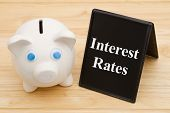 Knowing Your Banks Interest Rates, A Piggy Bank On A Desk With Chalkboard With Text Interest Rates poster