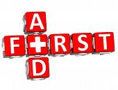 image of first aid  - 3D First Aid Crossword Block Button text over white background - JPG