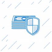 Blue Money Protection Line Icon Isolated On White Background. Financial Security, Bank Account Prote poster