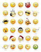image of angry smiley  - Large vector set of 30 emoticons with various facial expressions - JPG