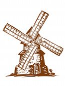 image of wind wheel  - Ancient wind mill in retro style for medieval concept design - JPG