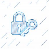 Blue Lock And Key Line Icon Isolated On White Background. Padlock Sign. Security, Safety, Protection poster