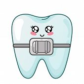 Healthy Kawaii Tooth With Dental Braces, Cute Cartoon Character, Concept Of Dentistry And Orthodonti poster
