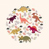 Dinosaurs Round Flat Hand Drawn Composition. Circle Border With Dinosaurs On Beige Background. Greet poster