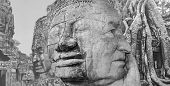 The Collage Of Images Of Angkor Wat In Cambodia. Collage With Double Exposure And Senior Man poster