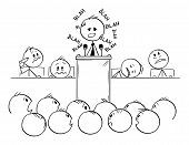 Vector Cartoon Stick Figure Drawing Conceptual Illustration Of Man Or Politician Speaking Or Having  poster