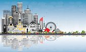 Welcome to Australia Skyline with Gray Buildings, Blue Sky and Reflections. Tourism Concept with Arc poster