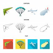Isolated Object Of Transport And Object Logo. Set Of Transport And Gliding Stock Vector Illustration poster