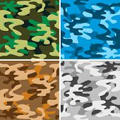 stock photo of camoflage  - Set of four seamless camouflage backgrounds - JPG