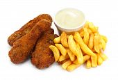 stock photo of creole  - Three pieces of crispy southern fried chicken with fries - JPG