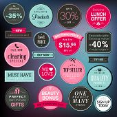 pic of cosmetic products  - Set of vector stickers and badges for sale - JPG