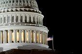 Постер, плакат: США Капитолийском холме купол деталь в ночное время Вашингтон DC США