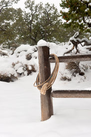 image of wrangler  - A wrangler lasso draped over a fence post in a snowy - JPG