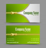image of zipper  - Front and back side of zipper theme business card isolated on grey background - JPG