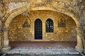 stock photo of filerimos  - Filerimos monastery arcade gallery Rhodes island Greece - JPG