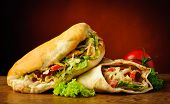 stock photo of shawarma  - still life with turkish doner kebab and shawarma - JPG