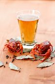 stock photo of crawfish  - boiled crawfish with beer on the table - JPG
