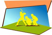stock photo of umpire  - Baseball batter with catcher and umpire vector graphic - JPG