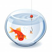 stock photo of fishbowl  - Fishing the goldfish with a worm in fishbowl - JPG