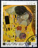 A Stamp Printed In France Shows The Kiss By Gustav Klimt