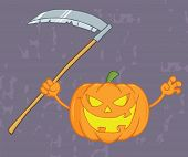 Scaring Halloween Pumpkin With A Scythe And Grunge Background
