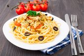 foto of brest  - Pasta with chicken brest on a plate - JPG