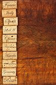foto of tens  - Wine cork border with the top ten Wine countries of the world on wooden background - JPG