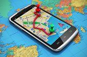 stock photo of gps  - Mobile GPS navigation - JPG