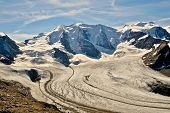 Постер, плакат: Piz Palu And Glaciers In The Valley Seen From Diavolezza And Munt Pars Alps In Switzerland