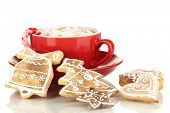 picture of latte  - Cup of coffee with Christmas sweetness isolated on white - JPG