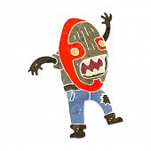 stock photo of cannibalism  - retro cartoon tribal mask man - JPG