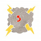 retro cartoon storm cloud with number