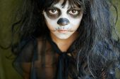 picture of antichrist  - Portrait of spooky girl in Halloween attire looking at camera - JPG