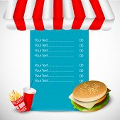 Vintage fast food menu rate card design with hamburger, french fries and drinks.