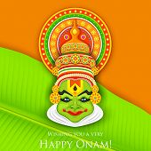 stock photo of onam festival  - illustration of colorful Kathakali dancer face for Onam celebration - JPG