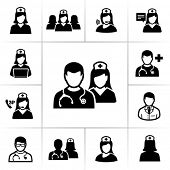 stock photo of nursing  - Nurses icons - JPG