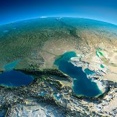 stock photo of tehran  - Highly detailed planet Earth in the morning - JPG